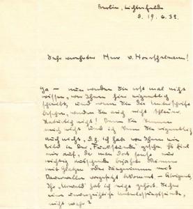 Anfang des ersten Briefes von Elisabeth Noelle an den Schriftsteller Fred von Hoerschelmann (19. Juni 1932)