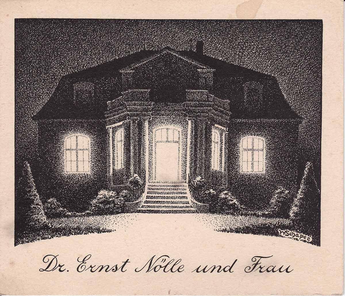 Limonenstraße 8 in Berlin: Einladungskarte der Familie Noelle, gezeichnet von Elisabeth Noelles Onkel Wolfgang Schaper