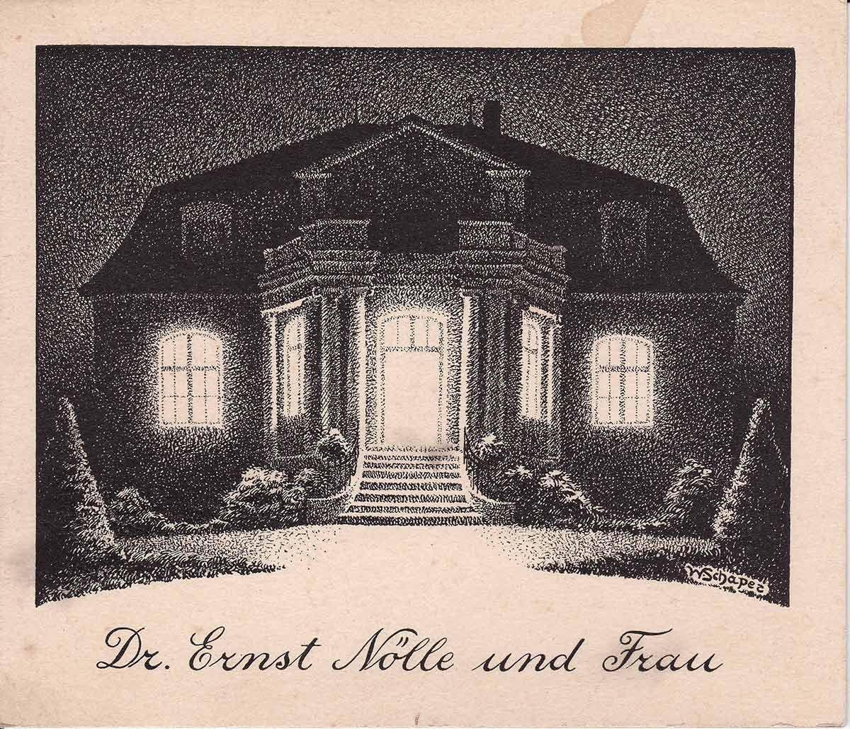 Limonenstrasse 8 in Berlin: Invitation card of the Noelle family, designed by Elisabeth Noelle's uncle Wolfgang Schaper