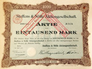 Stock of the company Steffens & Noelle, signed by Ernst Noelle (1907)