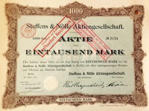Aktie der Firma Steffens & Nölle, unterzeichnet von Ernst Nölle (1907)