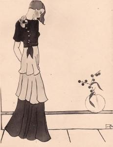 Tuschzeichnung von Elisabeth Noelle (1935)